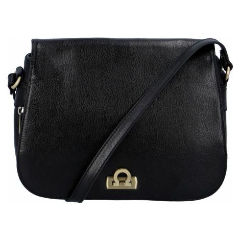Hexagona Luxusní dámská kožená kabelka černá - Francesca Černá