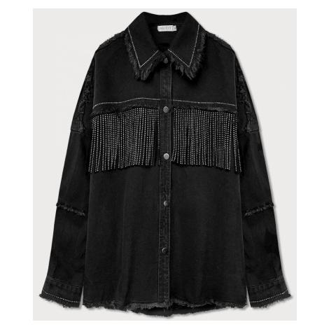 Černá dámská bunda s lesklými ozdobami a třásněmi (T2871)