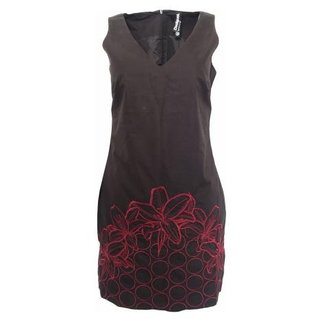 Černé šaty s červeným vyšíváním Desigual