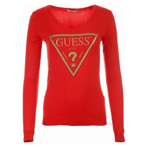 Dámský červený svetr Guess se zlatým logem