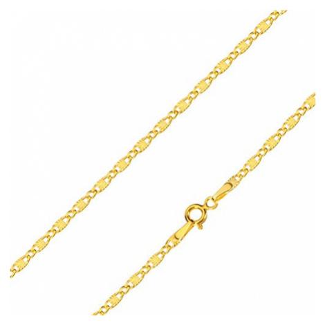 Řetízek ve žlutém zlatě 585 - oválná očka, podlouhlá očka s paprskovitým motivem, 500 mm Šperky eshop
