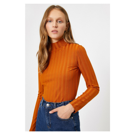 Koton Women Brown High Neck Long Sleeve Blouse