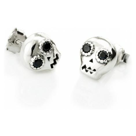 Linda's Jewelry Stříbrné náušnice Lebka Black Eyed Pecky IN098
