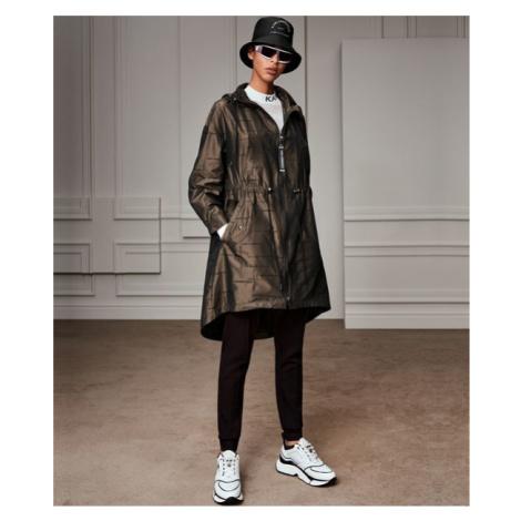 Kabát Karl Lagerfeld Jacquard Anorak W/ Hood - Zelená