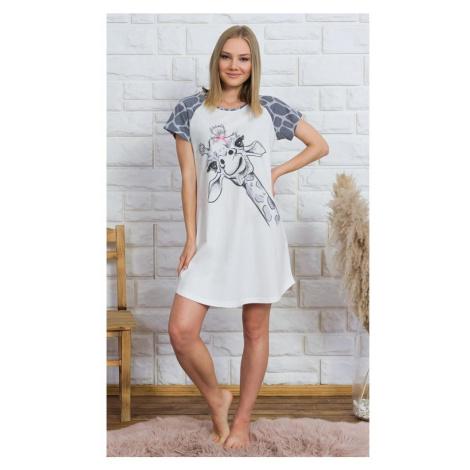Dámská noční košile s krátkým rukávem Velká žirafa, 3XL, bílá Vienetta Secret