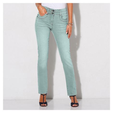Blancheporte Rovné barevné džíny světle tyrkysová