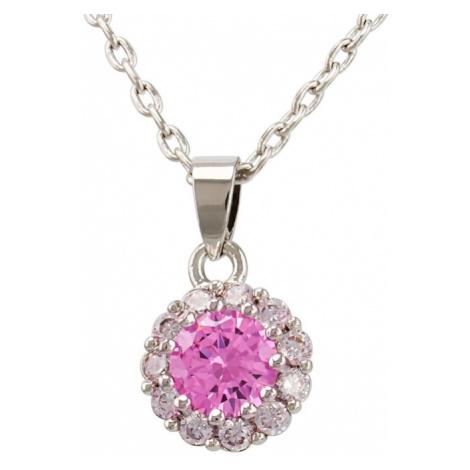 Linda's Jewelry Náhrdelník bižuterie se zirkony Růžový květ INH009