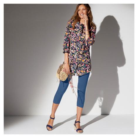 Blancheporte Dlouhá košile s barevným potiskem květin nám.modrá/korálová