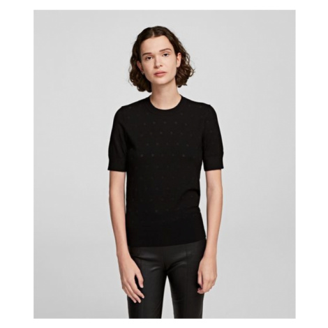Top Karl Lagerfeld Burnout Dot Ssl Knit Top - Černá