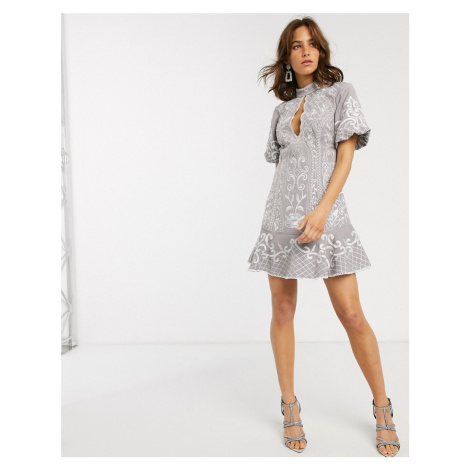 ASOS DESIGN embroidered mini dress with keyhole and pep hem-Grey