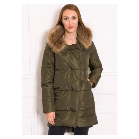 Dámská zimní bunda se zipy s pravým mývalovcem - zelená