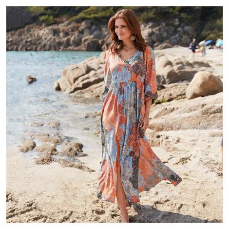 Blancheporte Dlouhá šaty s patchwork potiskem khaki