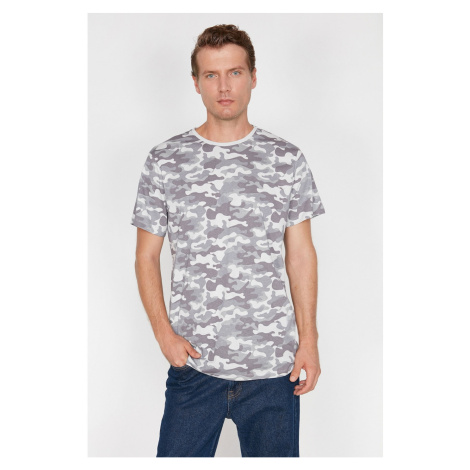 Koton Men's Grey Camouflage Patterned T-Shirt