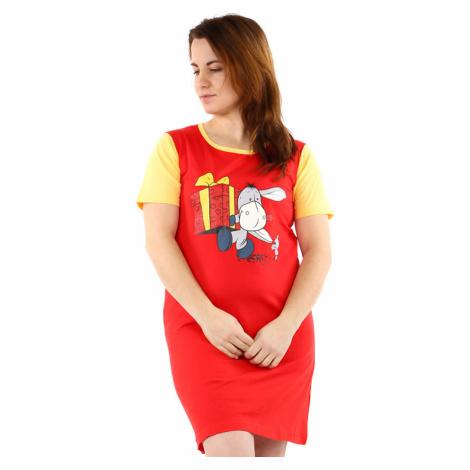 Dvoubarevná dámská bavlněná noční košile s oslem