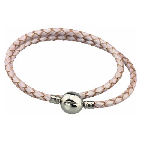 Linda's Jewelry Kožený náramek Dvojitý Béžový Bílý Chirurgická ocel INR090 Délka: 19