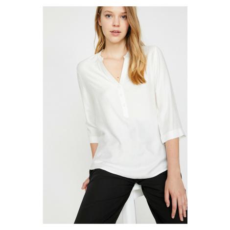 Koton Women's Ecru V Collar 3/4 Sleeve Blouse
