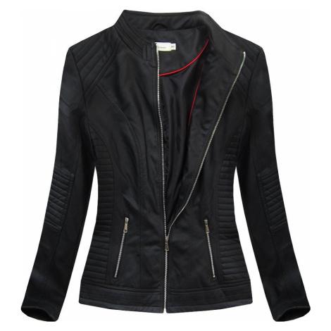Černá dámská koženková bunda (TD1136)