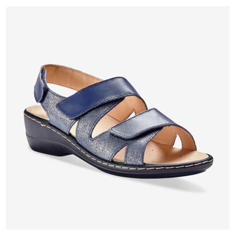 Blancheporte Kožené sandály na suchý zip nám.modrá