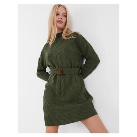 AX Paris cable knit jumper dress in khaki-Green