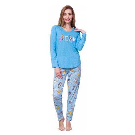 Dámské pyžamo Vienetta Secret Kočka Meow modré   tyrkysová