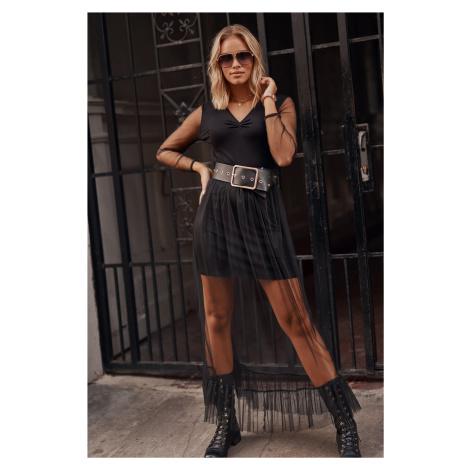 Tylové maxi šaty s výstřihem do V a mini sukni