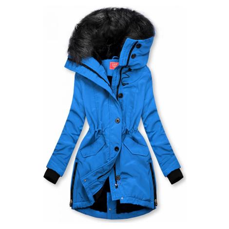 Kobaltově modrá zimní bunda s vysokým límcem Butikovo