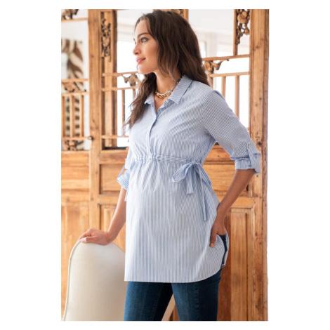 Světle modrá bavlnená těhotenská košile Hermia