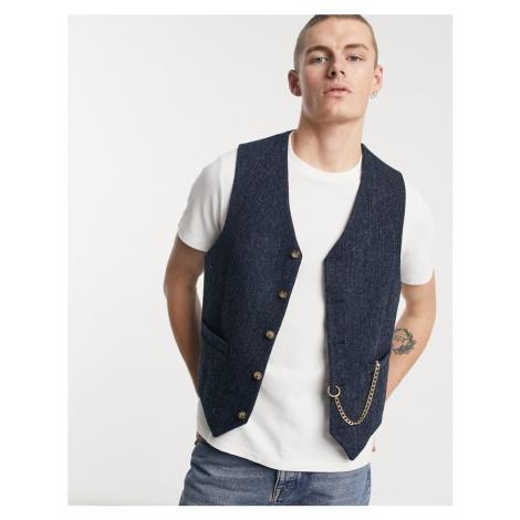 ASOS DESIGN slim harris tweed waistcoat in navy with chain