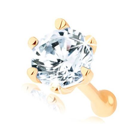 Rovný piercing do nosu ve žlutém 14K zlatě - kulatý zirkon čiré barvy Šperky eshop