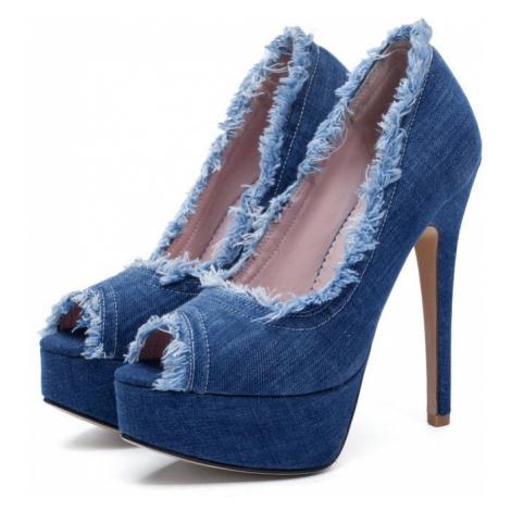 Džínové boty denim lodičky na jehlovém podpatku holá špička