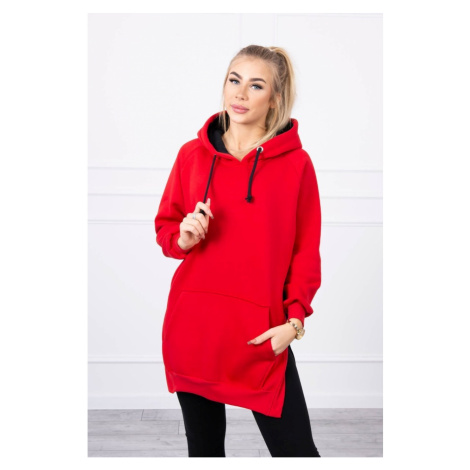 Two-color hooded dress red Kesi