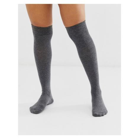 ASOS DESIGN over the knee socks-Grey