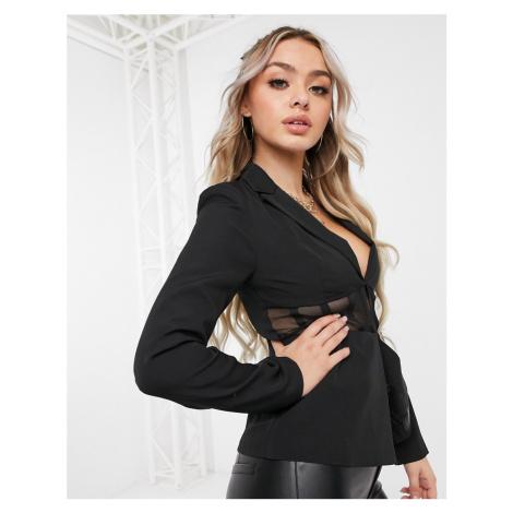 Club L tailored corset mesh blazer in black Club L London