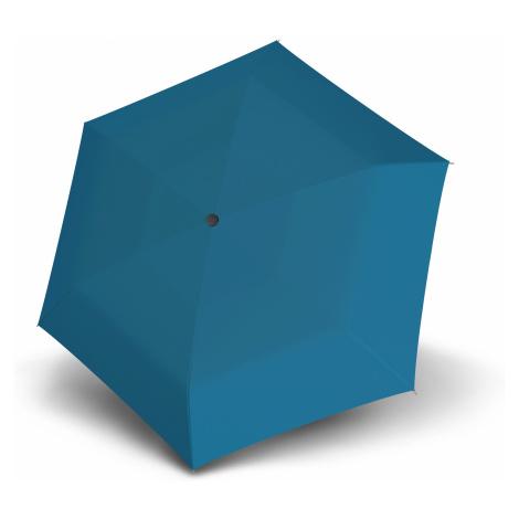 Modrý dámský plochý skládací deštník Ador