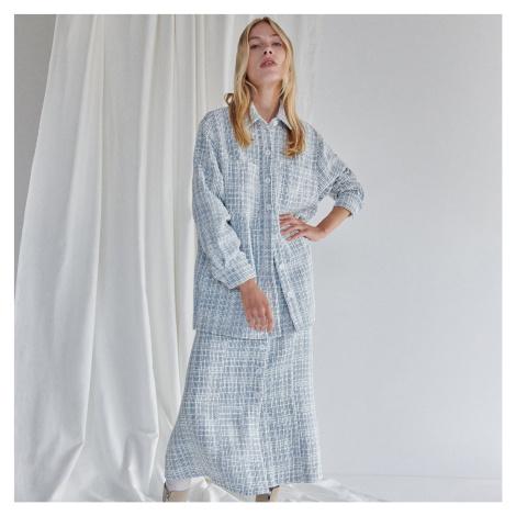Reserved - Košile z texturované bavlny - Modrá