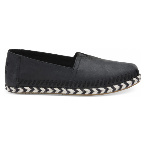 TOMS Black Leather Rope Alpargata černé 10011658
