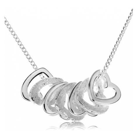 Stříbrný náhrdelník 925, kontury sedmi malých srdíček Šperky eshop