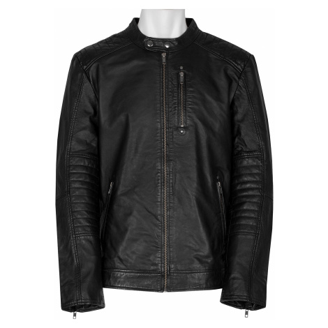 Černá pánská kožená bunda s prošitím Baťa