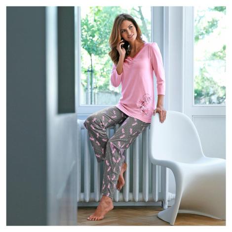 Blancheporte Pyžamo s potiskem vážek růžová/šedá