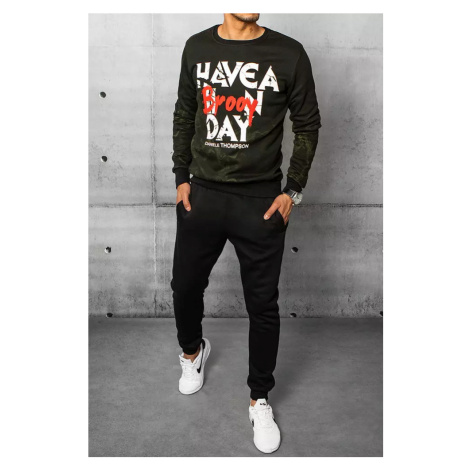 Green and black men's tracksuit with the Dstreet AX0385 print