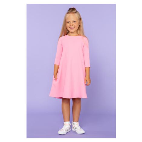 Dívčí šaty dětské midi s 34 rukávem a lodíčkovým výstřihem