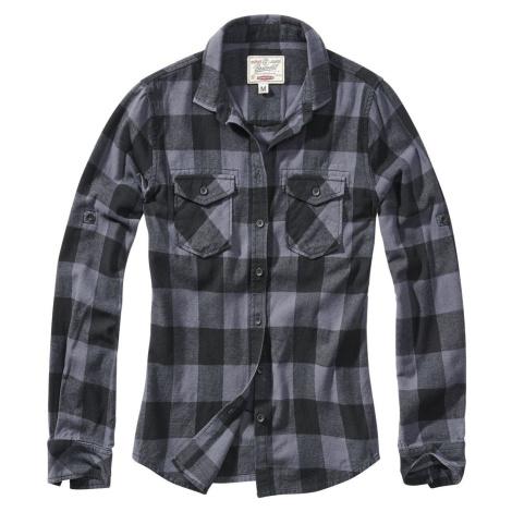 Brandit Flanelová kostkovaná košile Amy dívcí halenka cerná/šedá