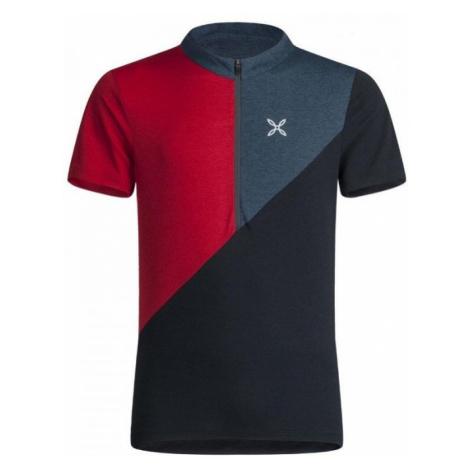Montura tričko Vertical Block Zip, červená/modrá
