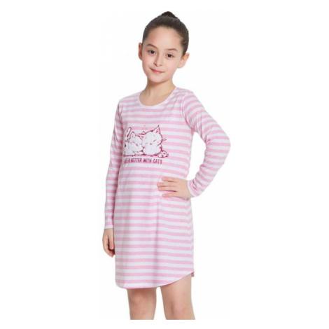 Dívčí noční košile Kitty růžová s pruhy Vienetta Secret