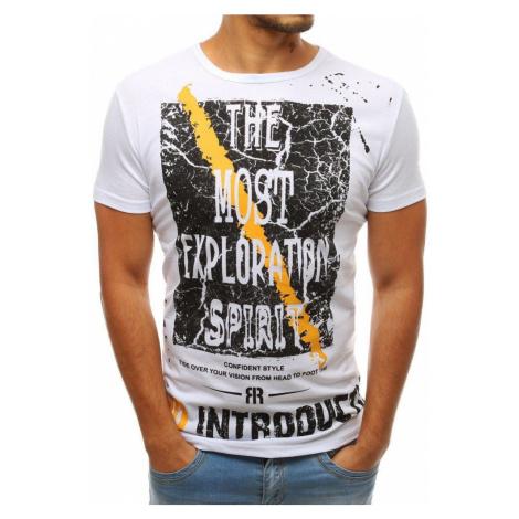Dstreet Pánské bílé tričko s potiskem
