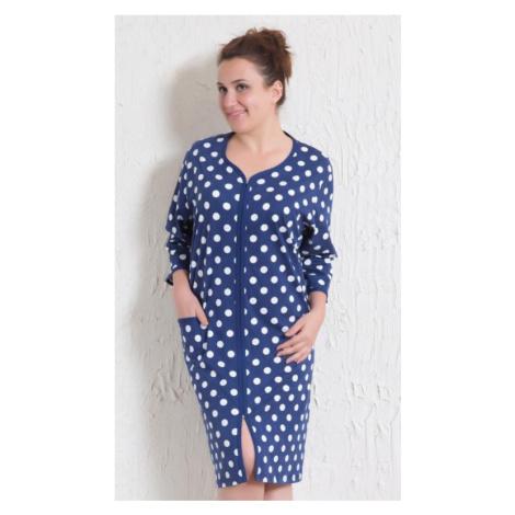 Dámské domácí šaty s tříčtvrtečním rukávem Vienetta Secret Puntík | tmavě modrá