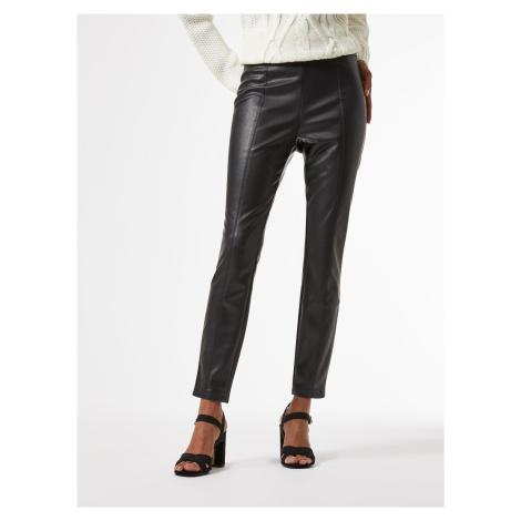 Černé zkrácené koženkové kalhoty Dorothy Perkins Petite