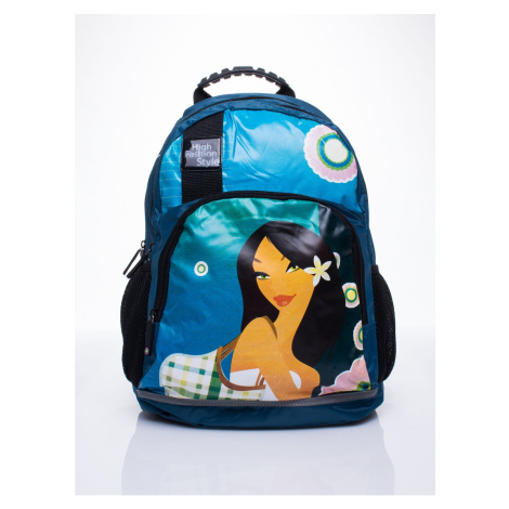 Blue school backpack with Mulan motif Fashionhunters