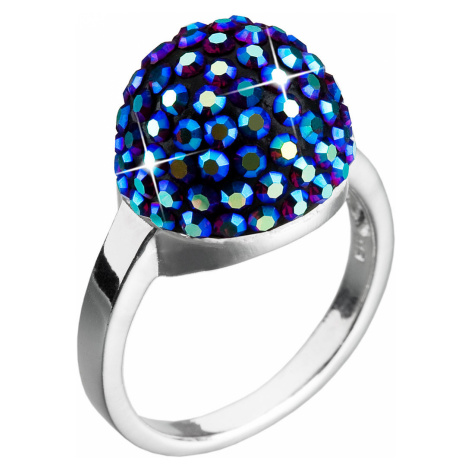 Evolution Group Stříbrný prsten s krystaly modrý 735013.3