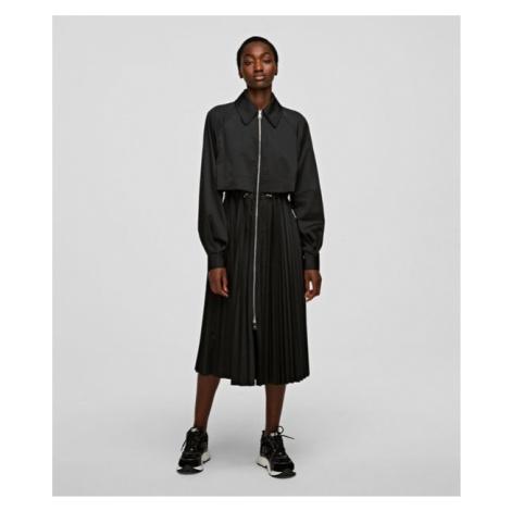 Kabát Karl Lagerfeld Technical Pleated Trench - Černá